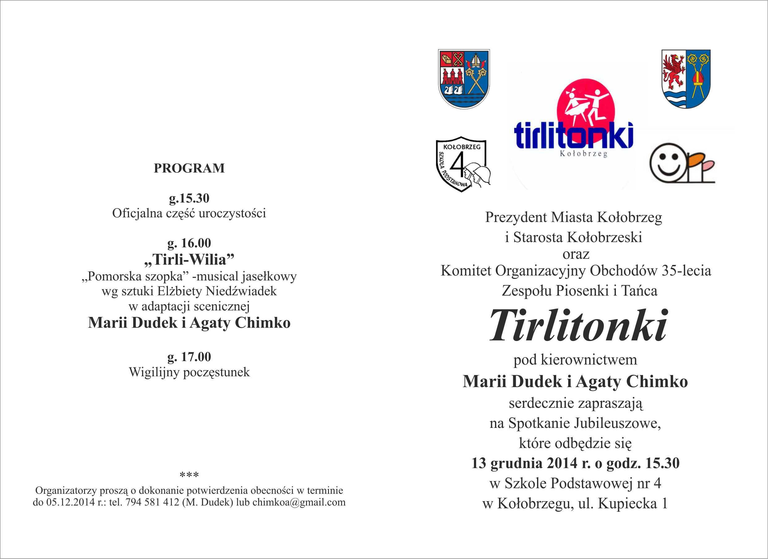 Zaproszenie Na Spotkanie Jubileuszowe Tirlitonek Powiat